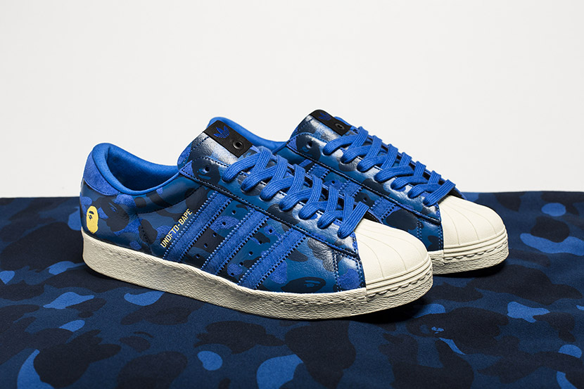 Undftd x Bape Superstar camo blue