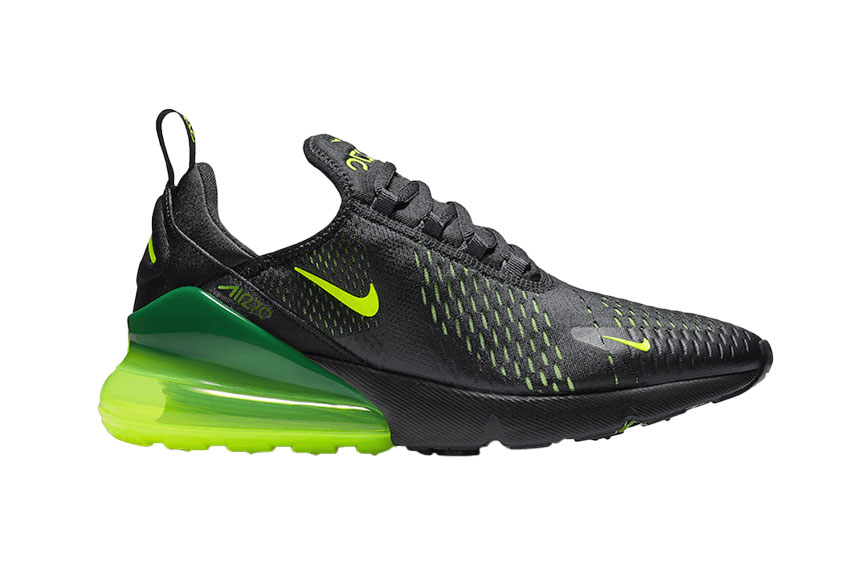 various design on feet at best price Nike Air Max 270 Black Volt : Release date, Price & Info