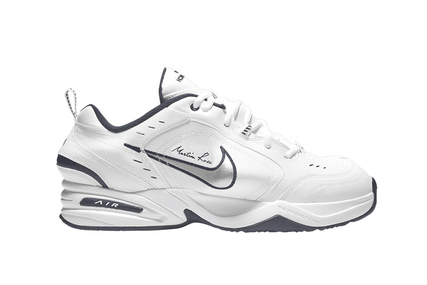huge discount a2392 0c7b7 How to buy the Martine Rose x Nike Air Monarch 4 White Silver Navy