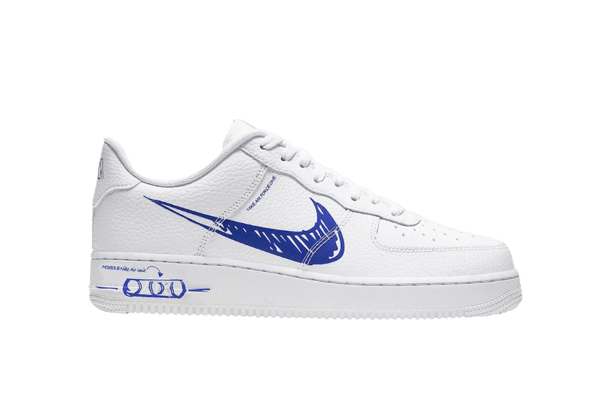 Nike Air Force 1 Low Blue Sketch White cw7581-100