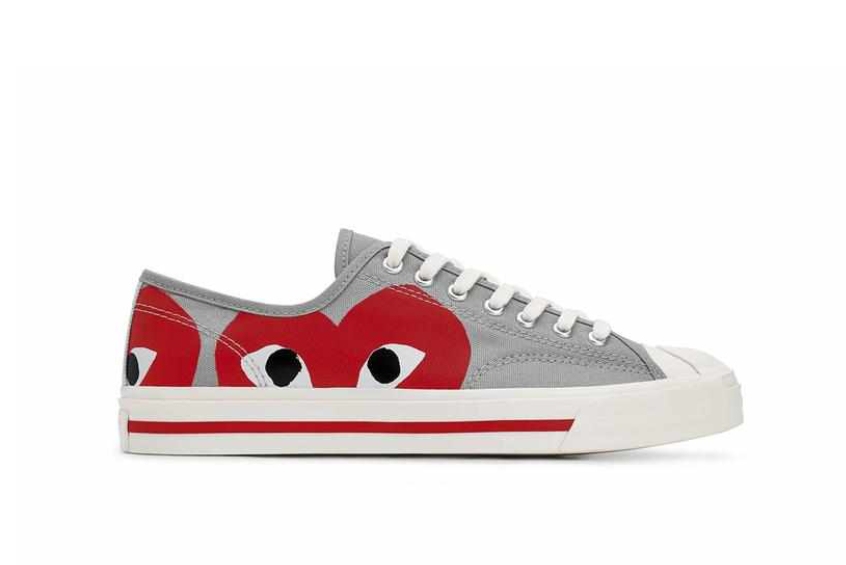 COMME des GARÇONS PLAY x Converse Jack Purcell Low «Grey/Red» 171260c