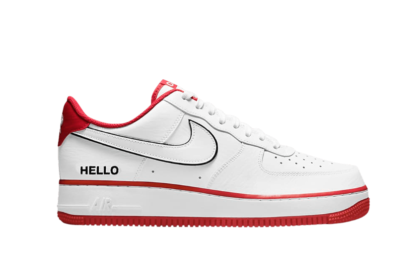 Nike Air Force 1 Hello White University Red cz0327-100